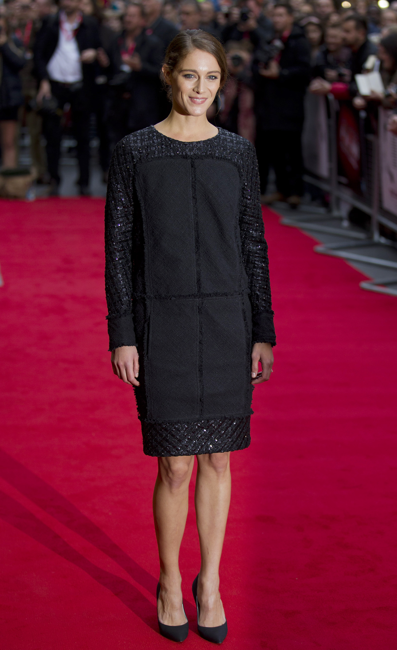 """French actress Ariane Labed arrives to attend the premiere of the film """"The Lobster"""", during the BFI London Film Festival in London on October 13, 2015. AFP PHOTO / JUSTIN TALLIS"""